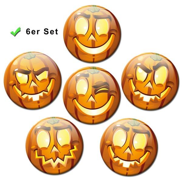 Smiley Halloween Kürbis, Kühlschrankmagnete 6er-Set Ø 5 cm