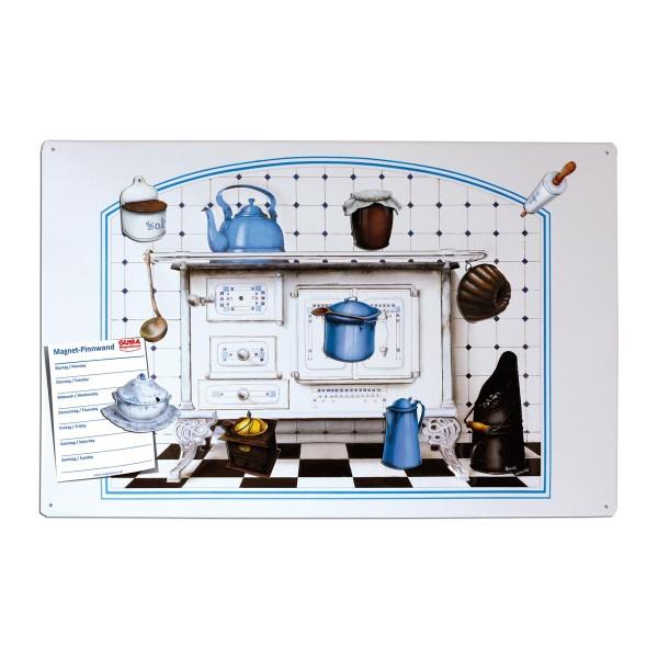 Magnetpinnwand 60 x 40 cm Antiker Küchenherd inkl. 8 Magnete