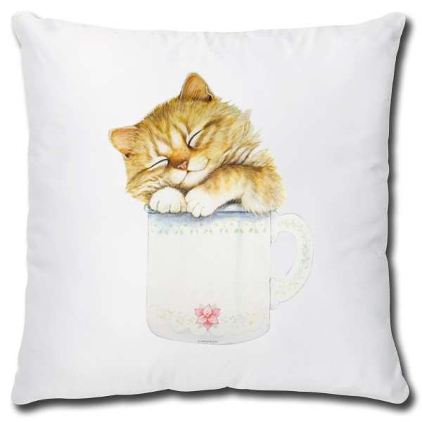 Katze in Kaffeetasse, Kissen 40x40 cm