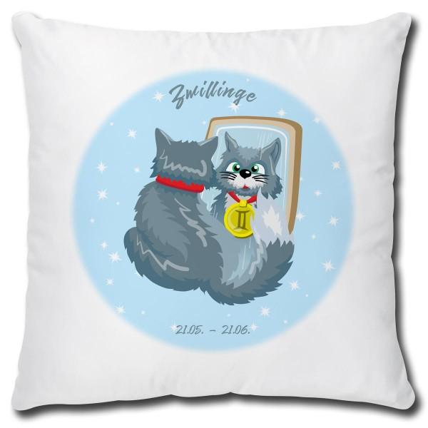Sternzeichen Zwillinge Katze Comic, Kissen 40x40 cm
