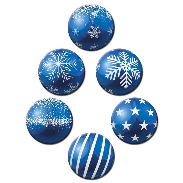 Weihnachtsbaumkugel Blau, Glasmagnettafel Magnete 6er-Set Ø 5 cm