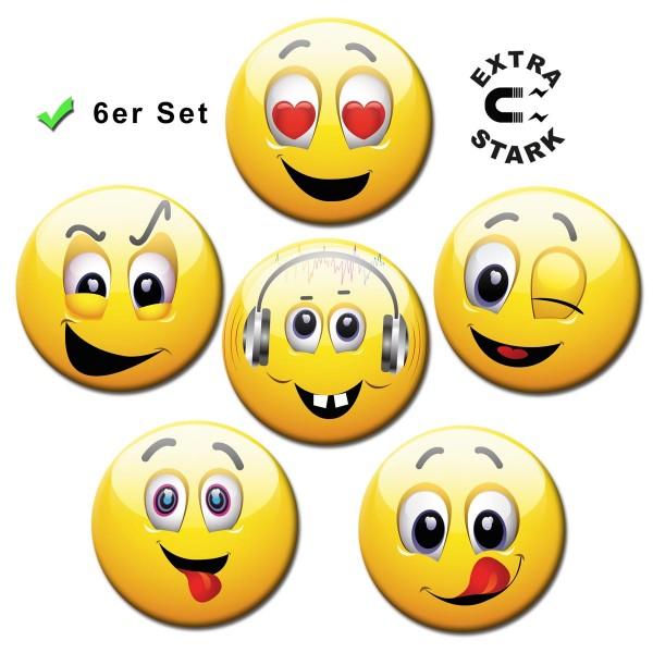 Smiley Happy Faces, Glasmagnettafel Magnete 6er-Set Ø 5 cm
