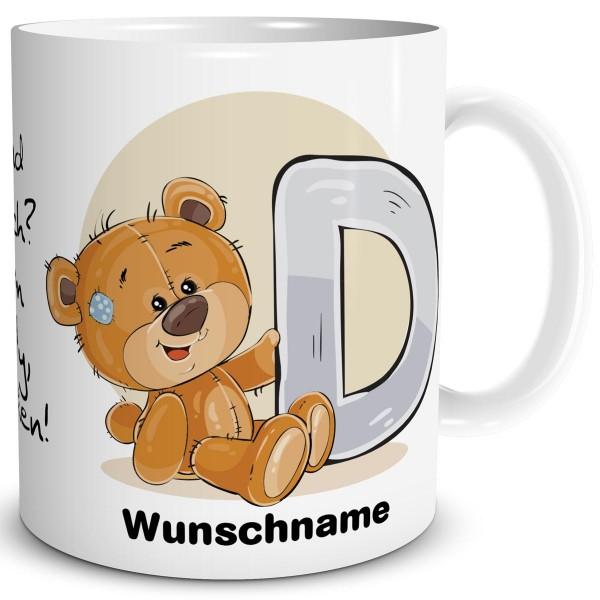 TRIOSK Tasse Bär Spruch Namen Buchstabe D Büro Kaffee Becher Geschenk Arbeit