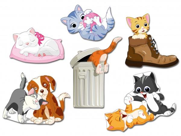 "Katzen ""Cute Cats"", Kühlschrankmagnete 6er-Set"