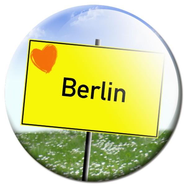 Magnet Ortsschild I love Berlin - Ø 5 cm