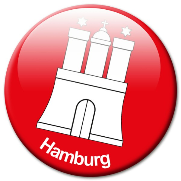 Fan Magnet Stadt Hamburg Wappen - Ø 5 cm