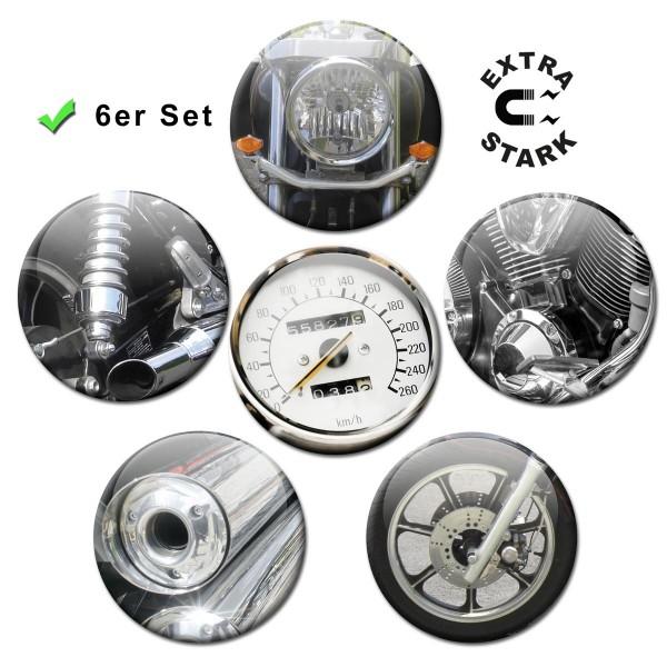 Chopper Parts, Glasmagnettafel Magnete 6er-Set Ø 5 cm