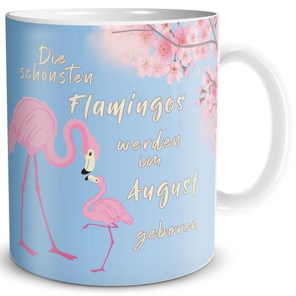Die schönsten Flamingos August, Tasse 300 ml