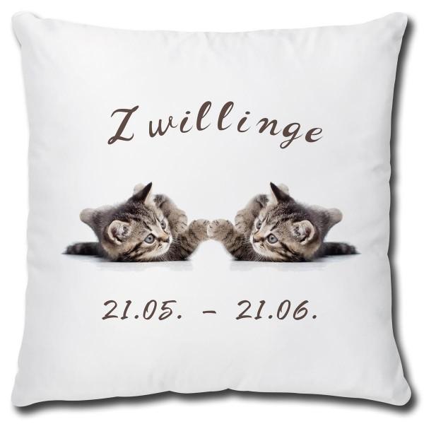 Sternzeichen Zwillinge Katze, Kissen 40x40 cm
