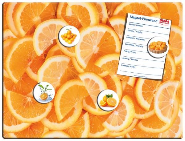 Magnettafel 40x30 cm Orangen Scheiben inkl. 4 Magnete