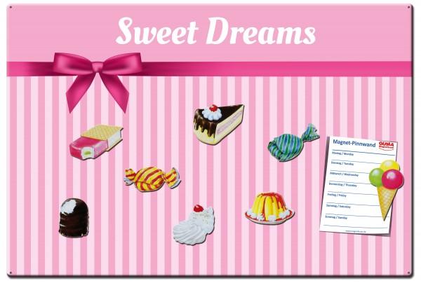 Magnettafel 60 x 40 cm Sweet Dreams inkl. 8 Magnete Süßigkeiten
