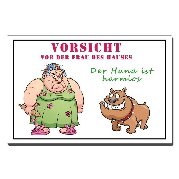 Vorsicht Frau Warnschild Hund