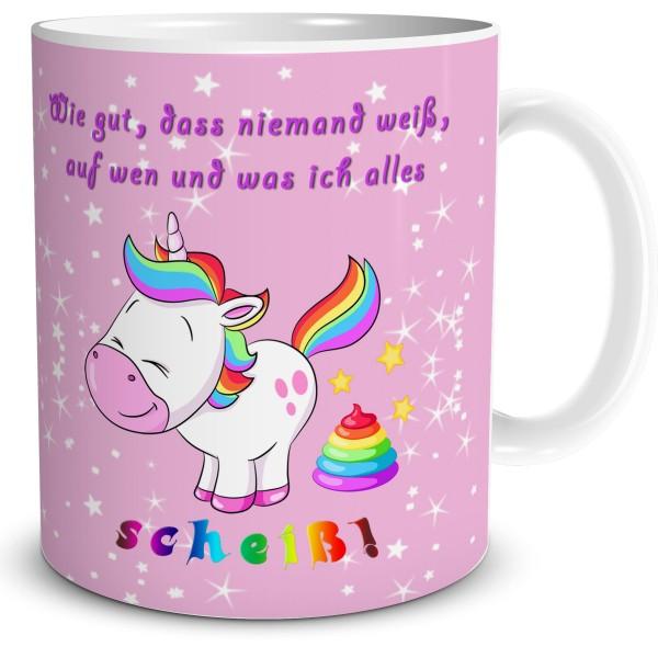 """Kaffeetasse mit Einhorn """"Scheiss Drauf"""" rosa"""