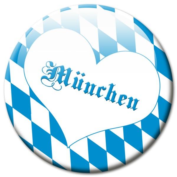 Fan Magnet Stadt München Raute mit Herz - Ø 5 cm