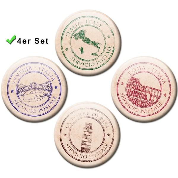 Magnete 4er-Set Poststempel Italien - Ø 5 cm