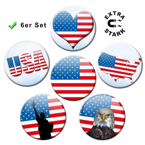 Flagge USA, Glasmagnettafel Magnete 6er-Set Ø 5 cm