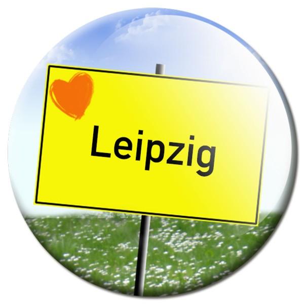 Magnet Ortsschild I love Leipzig - Ø 5 cm