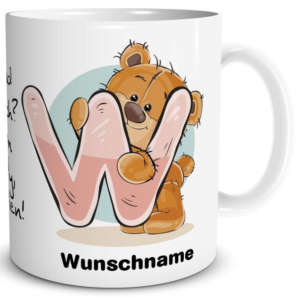 TRIOSK Tasse Teddy Bär Spruch Namen Buchstabe W Büro Kaffee Becher Geschenk