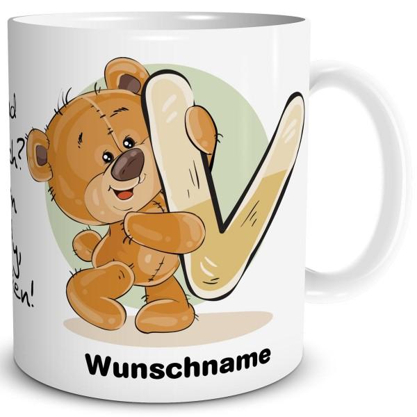TRIOSK Tasse Teddy Bär Spruch Namen Buchstabe V Büro Kaffee Becher Geschenk
