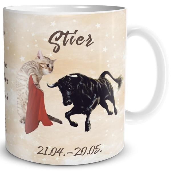 Sternzeichen Stier Katze, Tasse 300 ml