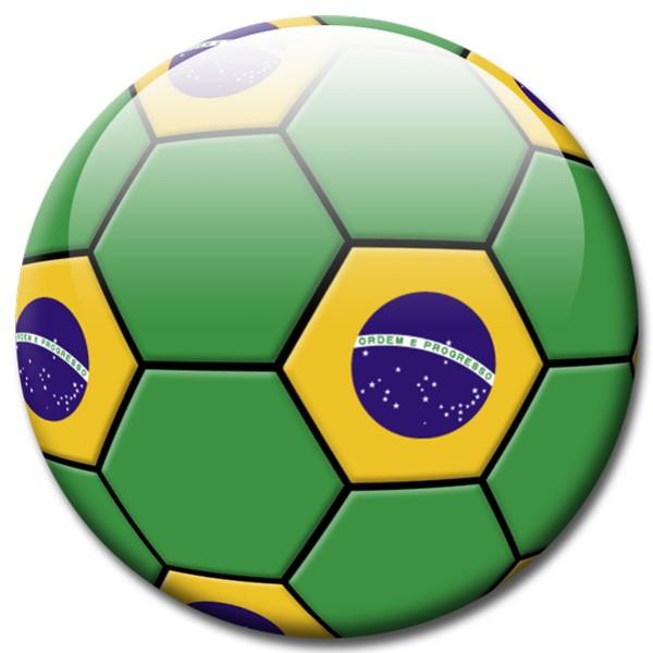 Magnet Fußball - Flagge Brasilien - Ø 5 cm