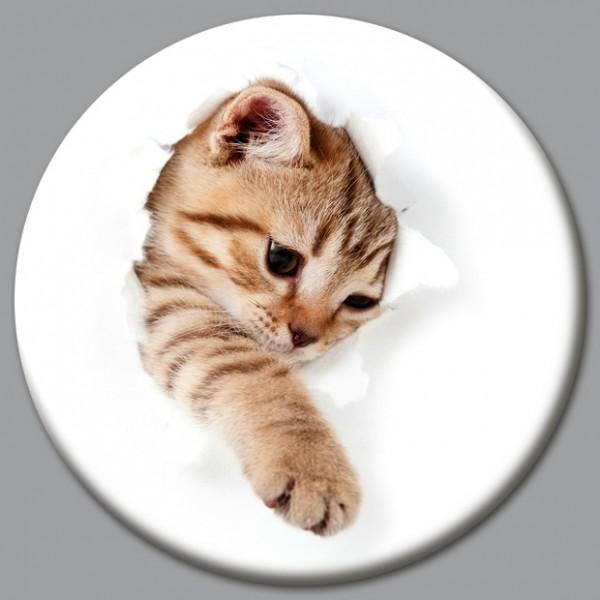 Magnet Katze - Katze bricht durch - Ø 5 cm