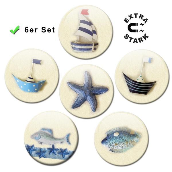 Maritime Dekoration Blau, Glasmagnettafel Magnete 6er-Set Ø 5 cm