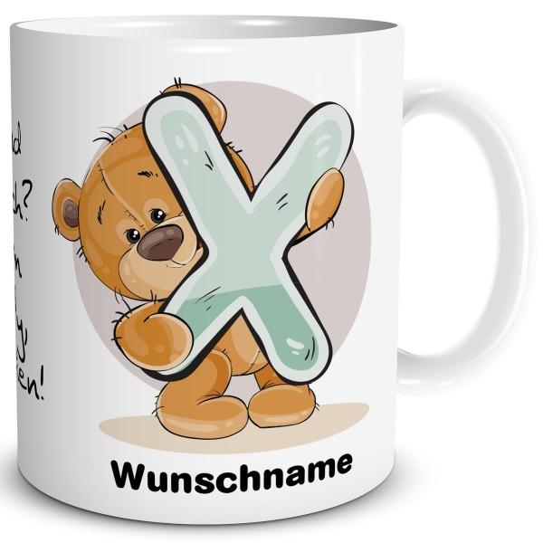 Teddy Bär X mit Wunschname, Tasse 300 ml, Weiß
