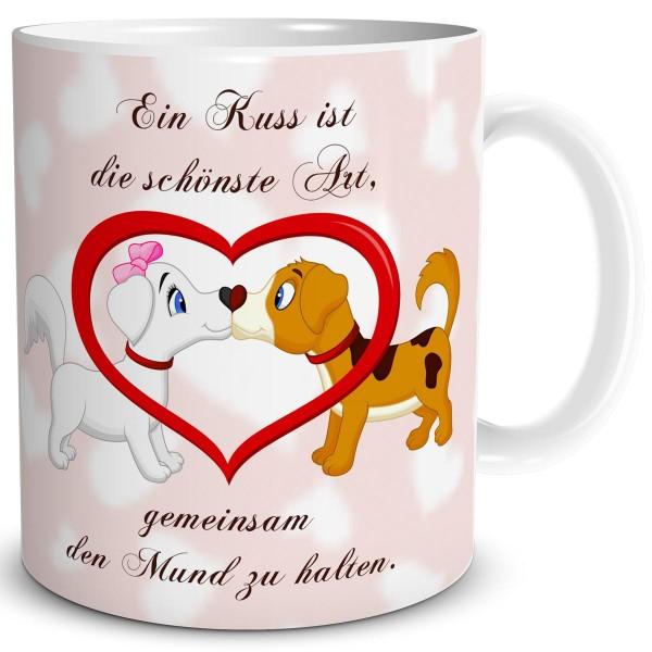 Hundeliebe Kuss mit Herz, Tasse 300 ml