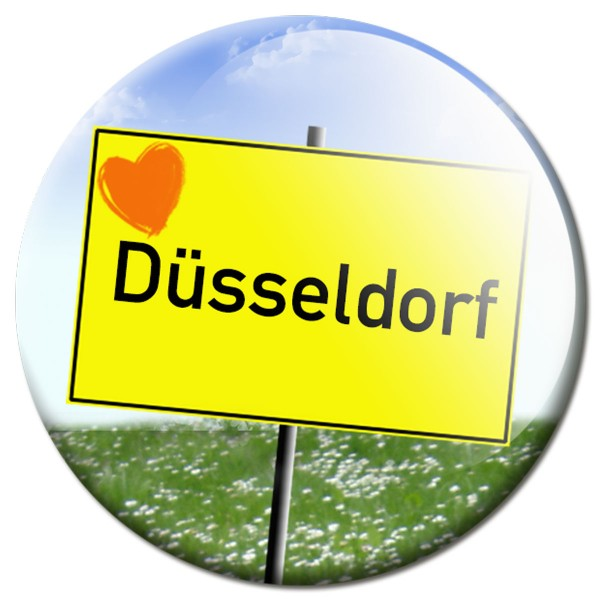 Magnet Ortsschild I love Düsseldorf - Ø 5 cm