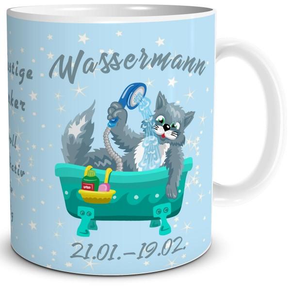 Sternzeichen Wassermann Katze Cartoon, Tasse 300 ml