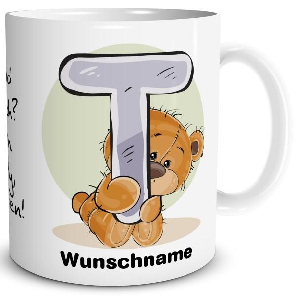 Teddy Bär T mit Wunschname, Tasse 300 ml, Weiß