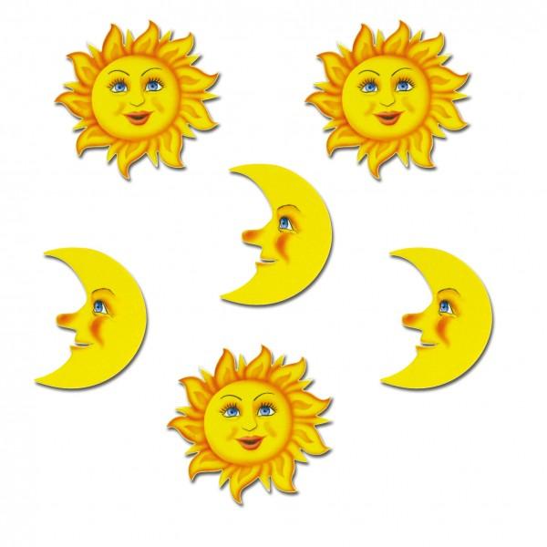 Magnete 6er-Set Sonne und Mond
