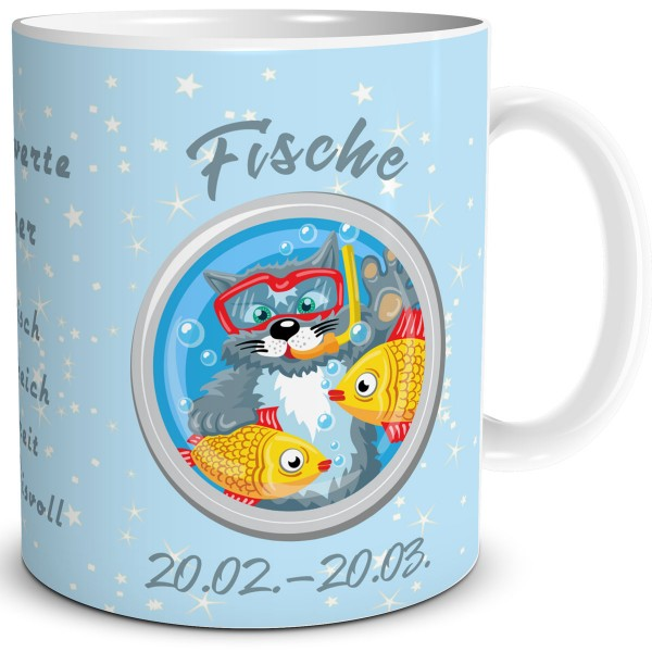Sternzeichen Fische Katze Cartoon, Tasse 300 ml