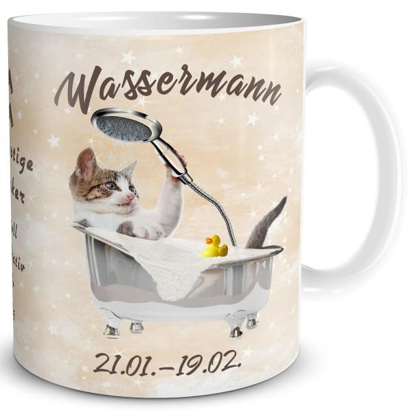Sternzeichen Wassermann Katze, Tasse 300 ml