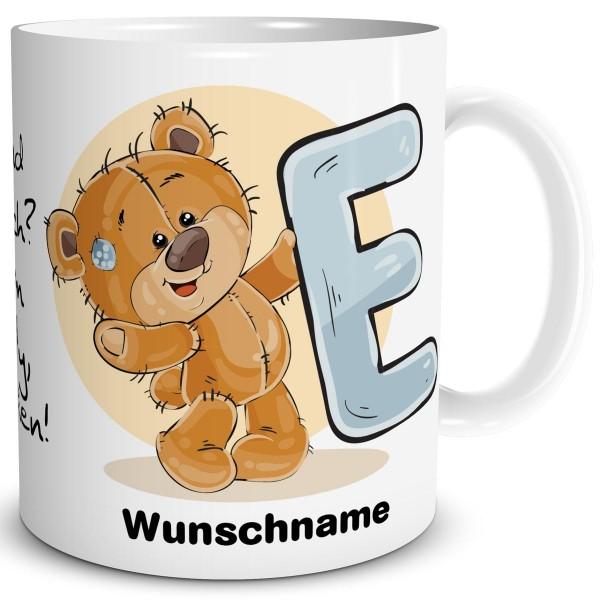 Teddy Bär E mit Wunschname, Tasse 300 ml, Weiß