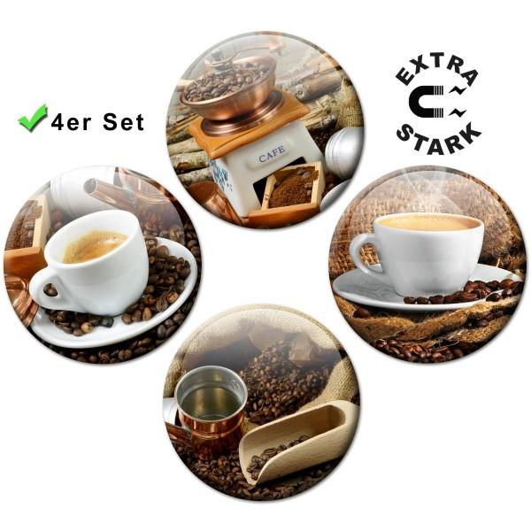 Magnete für Glasmagnettafel 4er-Set Kaffeemühle Kaffeetassen - Ø 5 cm