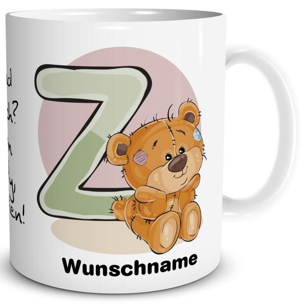 Teddy Bär Z mit Wunschname, Tasse 300 ml, Weiß