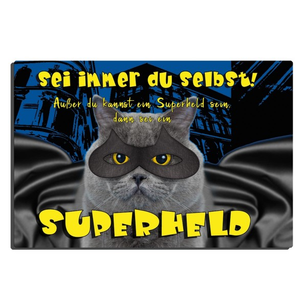 Superheld Katze, Blechschild 20x30 cm