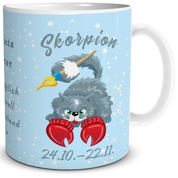 Sternzeichen Skorpion Katze Cartoon, Tasse 300 ml