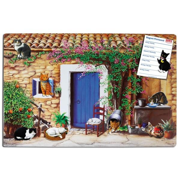Magnetpinnwand 60 x 40 cm Katzen-Finca inkl. 8 Magnete Katzen