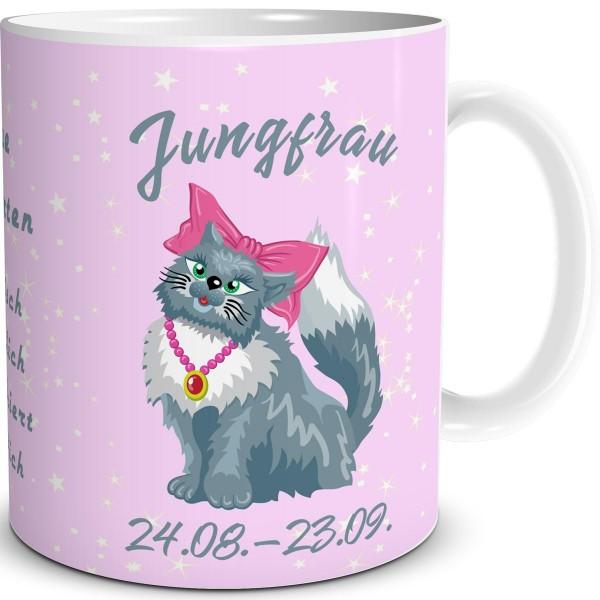Sternzeichen Jungfrau Katze Cartoon, Tasse 300 ml