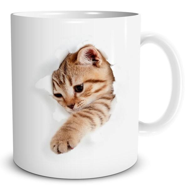 Katze bricht durch Becher, Tasse 300 ml