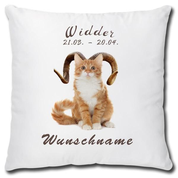 Sternzeichen Widder Katze, Kissen 40x40 cm personalisiert