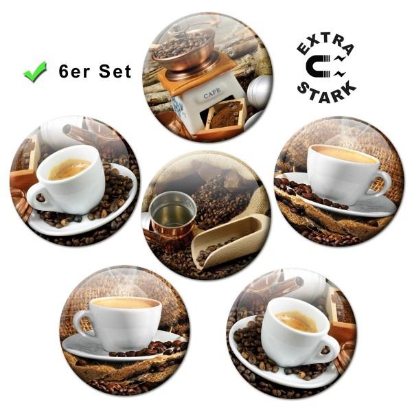 Kaffee Tassen, Glasmagnettafel Magnete 6er-Set Ø 5 cm
