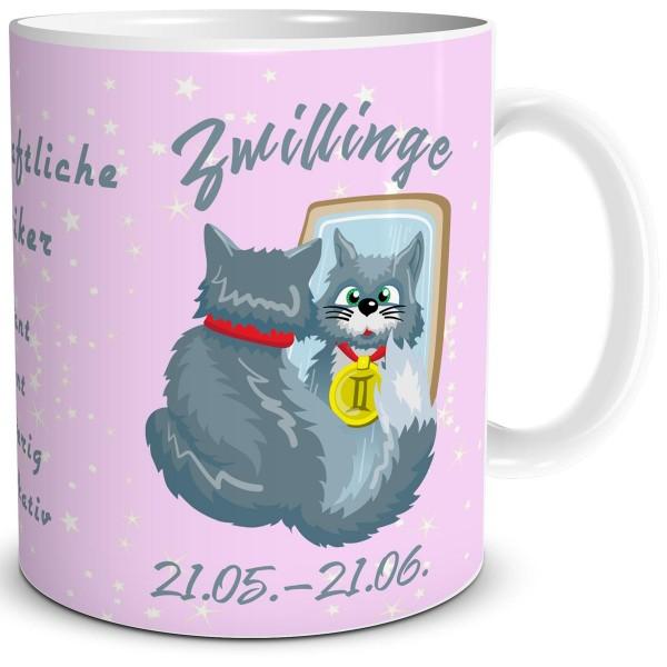Sternzeichen Zwillinge Katze Cartoon, Tasse 300 ml