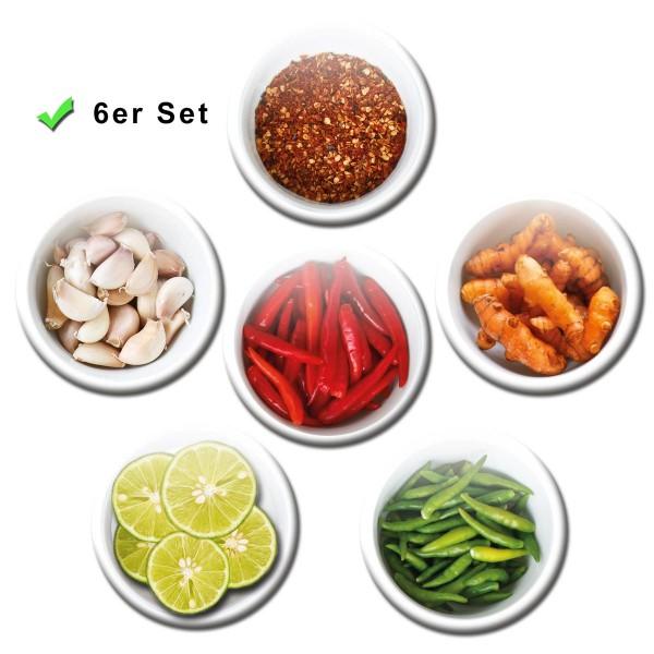 Gewürze Hot Spices, Kühlschrankmagnete 6er-Set Ø 5 cm