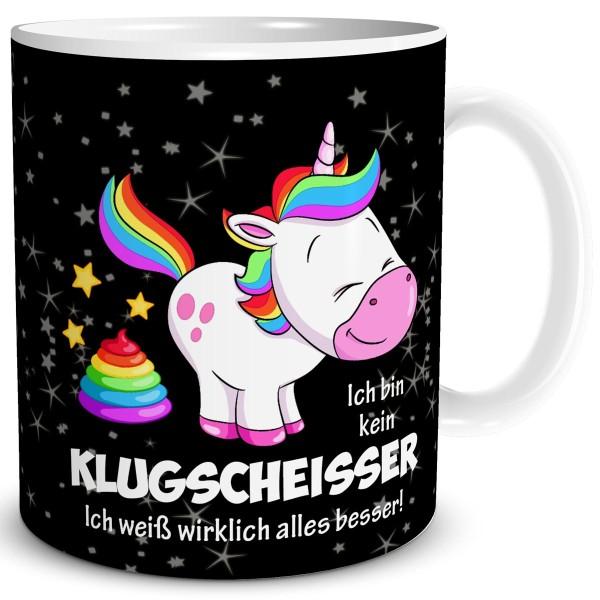 Einhorn Klugscheisser, Tasse 300 ml, Schwarz