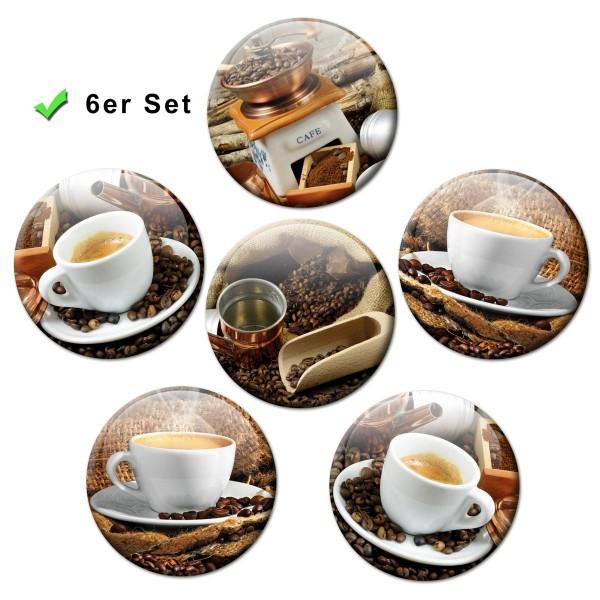Kaffee Tassen, Kühlschrankmagnete 6er-Set Ø 5 cm