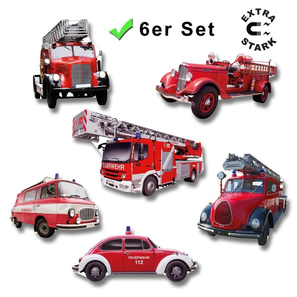 Feuerwehrauto, Glasmagnettafel Magnete 6er-Set